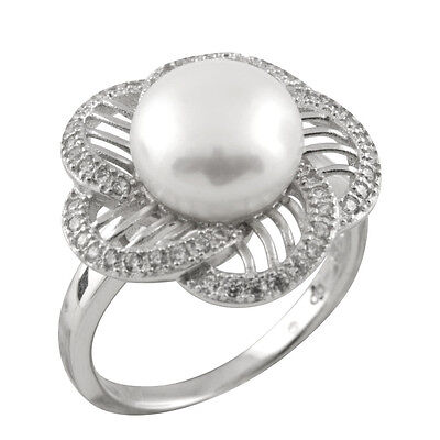 Fancy sterling silver rhodium plated ring with 10-11mm button shape pearl RS-163
