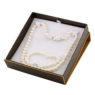 """Boxed 7-8mm white freshwater 18"""" pearl necklace, 7¼"""" bracelet and studs SET-C"""