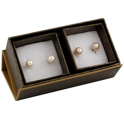 Boxed duo including 8-8½mm white & natural pink freshwater pearl studs SET-R