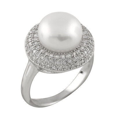Fancy sterling silver rhodium plated ring with 10-11mm button shape pearl RS-166