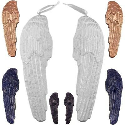 Pair of Guardian Angel Wings Wall Hanging Plaque Ornament Black Gold White Blue
