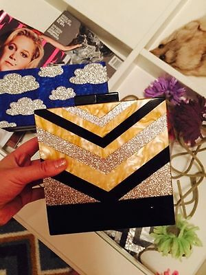 Mother Of Pearl Glitter Zig Square Acrylic Box Clutch Bags Purses