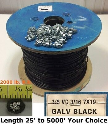 "25' to 250' 1/8"" VC 3/16"" 7 x19 BLACK Vinyl Coated AIRCRAFT CABLE w Cable Clamps"