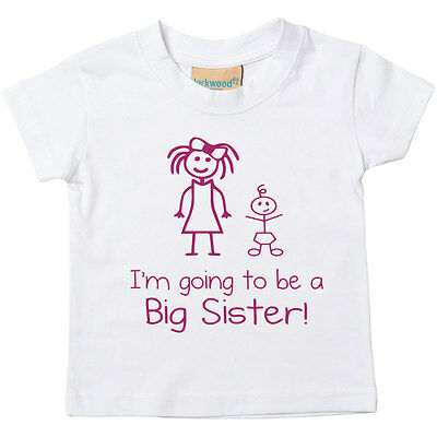 I'm Going To Be A Big Sister Girls White Tshirt New Baby 0-6 Mth to 14-15 Yrs
