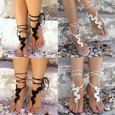 New Barefoot Sandals Crochet Foot Jewelry Ankle Anklet Cotton Bracelet Chain M84