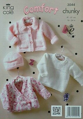 KNITTING PATTERN Baby Easy Knit Cardigans, Jumper & Hat Chunky King Cole 3044