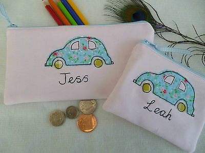 Handmade Girls Personalised Pink Car Purse/Wallet or Pencil Case Choice of words
