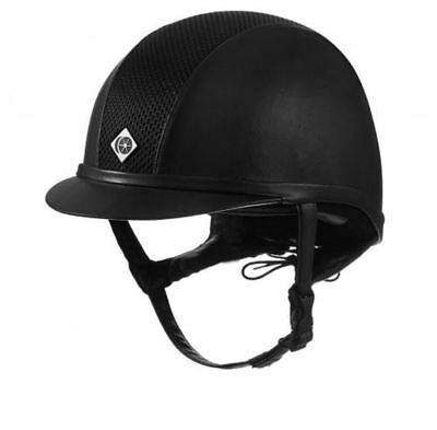 Charles Owen Leather Look AYR8 Riding Helmet - Black - PAS 015 and ASTM F1163