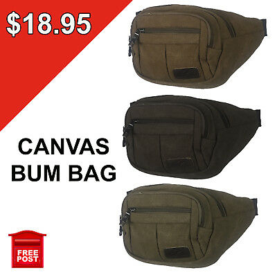 Canvas Bum Bag Wallet Waist Pouch Travel Mobile Phone BLACK SAND BROWN MILITARY