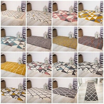 Small Large Shaggy Rugs Soft Thick Rugs Non Shed Ochre Geometric Living Room Rug