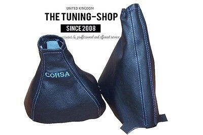 For Opel Vauxhall Corsa C 00-06 Gear Handbrake Gaiter Leather Mid Blue Embroider