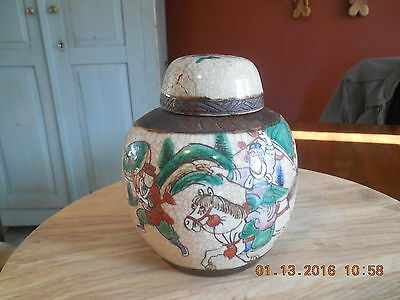 ANTIQUE Crackle Glaze Chinese Ginger Jar decorated with Warriors in Action