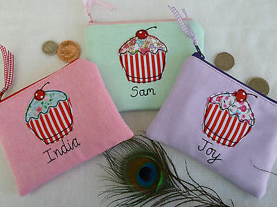 Handmade Personalised Girls Cupcake Coin Card Purse/Wallet Word & Colour Choice