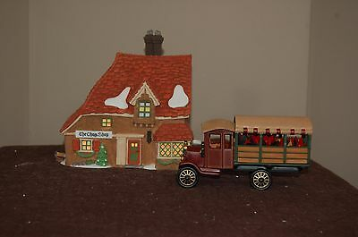 Dept 56 Dickens Village The Chop Shop and Poinsettia Delivery Truck