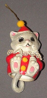 Vintage Cat Bell Christmas Tree Ornament Porcelain Gray Kitty Giftco