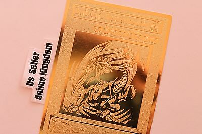 USA Seller Anime BLUE-EYES WHITE DRAGON English Golden Metal Card Custom Made