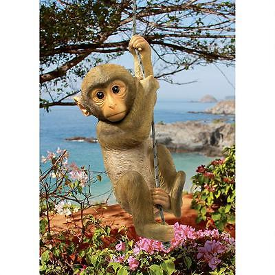 Exotic Climbing Rope Baby Chimpanzee Monkey Wildlife Yard and Garden Statue