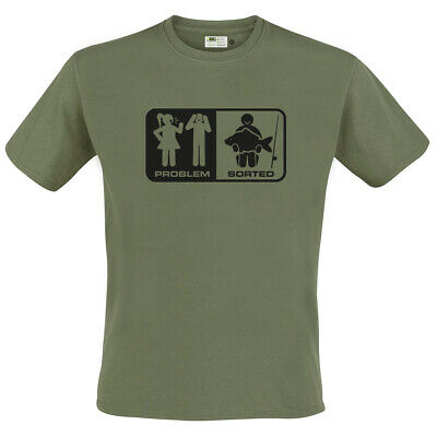 FUNNY Fishing T-Shirt 'Problem / Sorted' in Green by Big Kippers | FREE Delivery