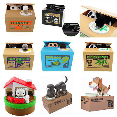 Cute Automatic Stealing Coin Cat Penny Cents Piggy Bank Saving Box Monkey