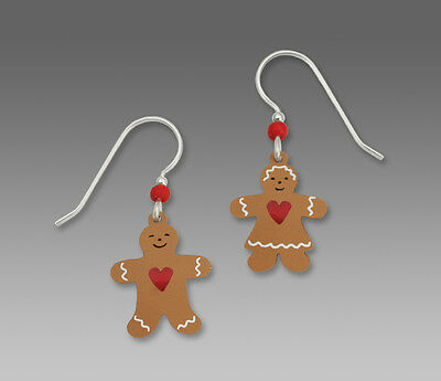 Sienna Sky Earrings - Gingerbread Couple with Red Heart