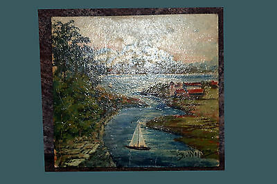 Vintage Landscape Oil Painting on Masonite Board Signed by Artist