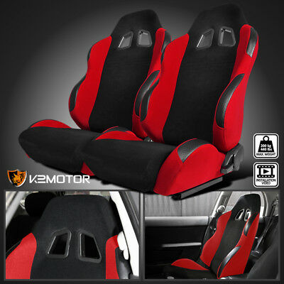 2X JDM Red Black Suede PVC Leather Sport Racing Seats Pair