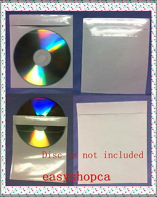100 Adhesive Vinyl Clear CD DVD CPP Sleeve with full backing Premium 115Mic
