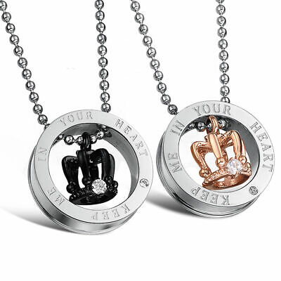 1abd389a20 2Pcs Titanium Steel Crown His and Her Promise Matching Love Couple Necklace
