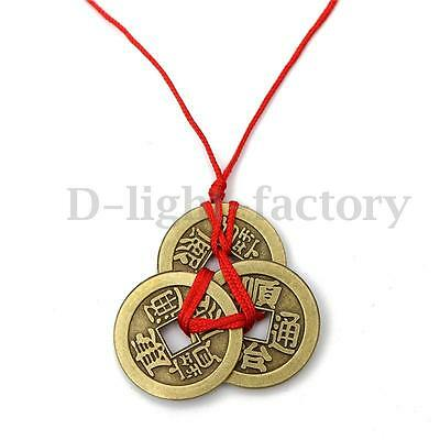 New Chinese Lucky Coins Feng Shui 3 Coins Wealth Money Metal Bronze