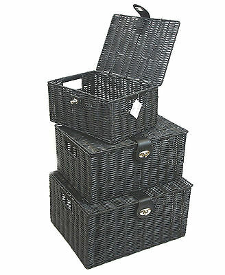 Black Resin Woven Hamper Storage Basket Box With Lid & Lock In 3 Size Ideal Gift