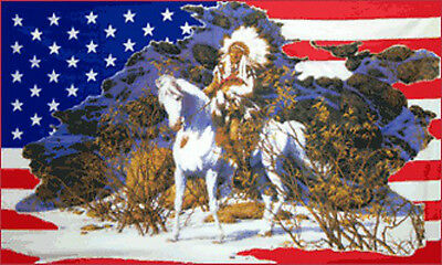 USA INDIAN CHIEF FLAG 5' x 3' United States of America US Horse Snow Scene