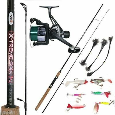 X-treme Spin 7ft Carbon Spinning Fishing Rod & Reel + 6 Spinners Lures + Traces