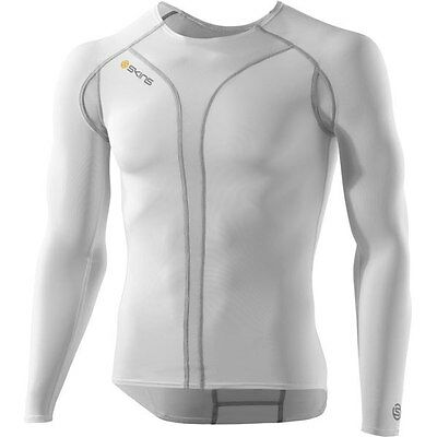 SKINS C400 Men's Compression Long Sleeve Baselayer Top White Extra Small XS