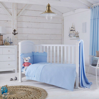 Izziwotnot Powder Blue Gift 5 Piece Quilt Bedding Bale, Cot/Cot Bed