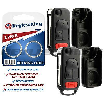2 New Replacement Keyless Entry Remote Flip Key Fob Control Case Pad Shell