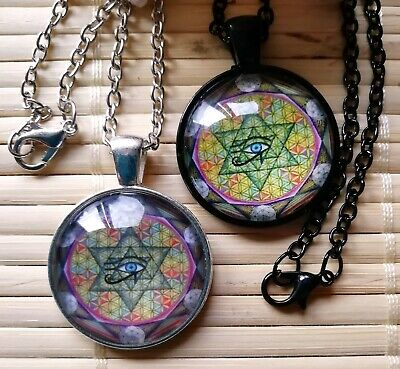 ONENESS Flower of Life Horus Yin Yang Star of David Silver Pendant Amulet Pouch
