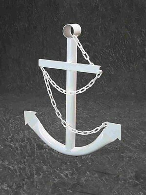 Handcrafted White Metal Anchor 2' Nautical Wall Yard Decor USA