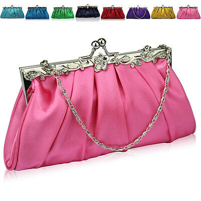 New Women Bridal Satin Wedding Clutch Slouch Diamante Ladies Evening Bags Prom