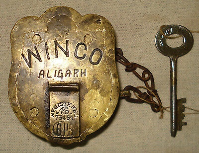 Vintage Very Rare Shape Old Brass Pad Lock Working Condition Must See