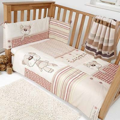 Clair de Lune Little Bear 2 Piece Cot Bed Quilt & Bumper Bedding Set, Neutral