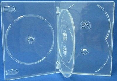 100 pcs Premium Clear Multi holds 5 Discs DVD CD Cases, Standard 14mm, 5c