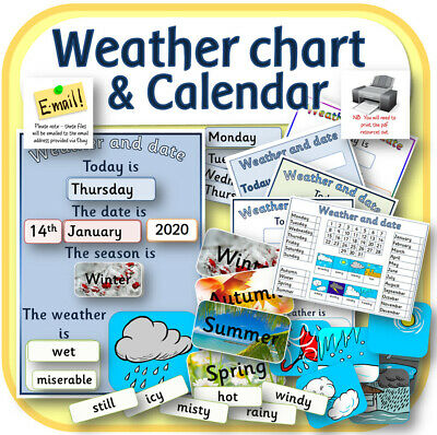 Daily weather chart and calendar in pdf to print teaching resources CD EYFS KS1