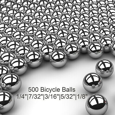 "500 Piece Assorted Loose Bicycle Bearing Balls 1/8"", 5/32"", 3/16"" 7/32"" & 1/4"""