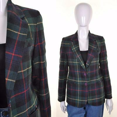 VINTAGE Green Tartan Tweed Jacket 8 10 Heritage Riding Hacking Classic Blazer