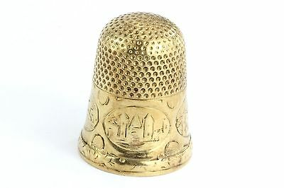 Antique Victorian 14K Gold Thimble engraved Mother