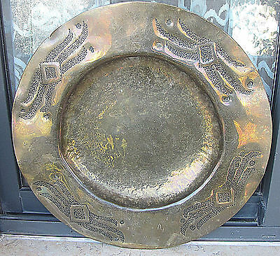 Art Deco Art Craft Massive Bronze Tray Plate Hammered Engraved