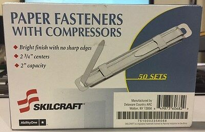Prong Paper Fastener with Compressor, 2 3/4 Inch, Two-Inch Capacity, 50/Box