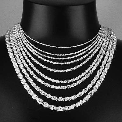 Unisex Solid 925 Sterling Silver 1mm to 6mm Width Rope Chain Italy Made