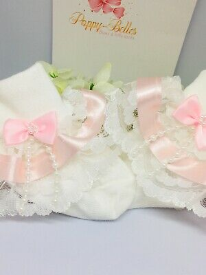 Handmade Pink beads bow girls frilly socks various sizes