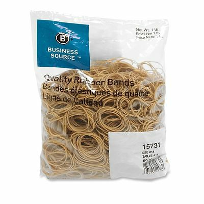 "Business Source 15731 Rubber Bands-Size 14, 1 lb Bag, 2"" x 1/16"", Natural Crepe"